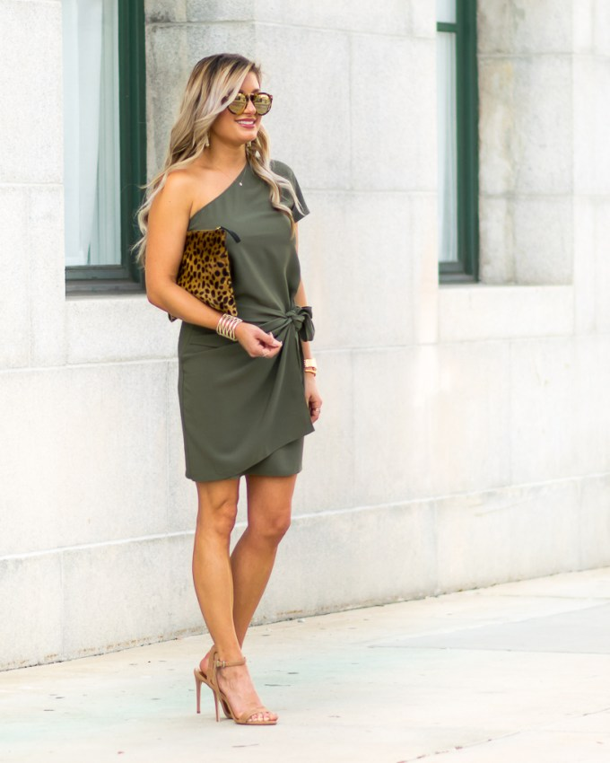 one shoulder faux wrap dress
