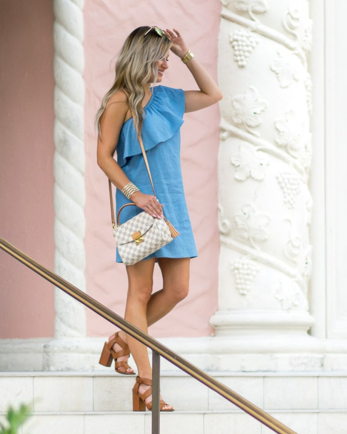 one shoulder ruffle chambray