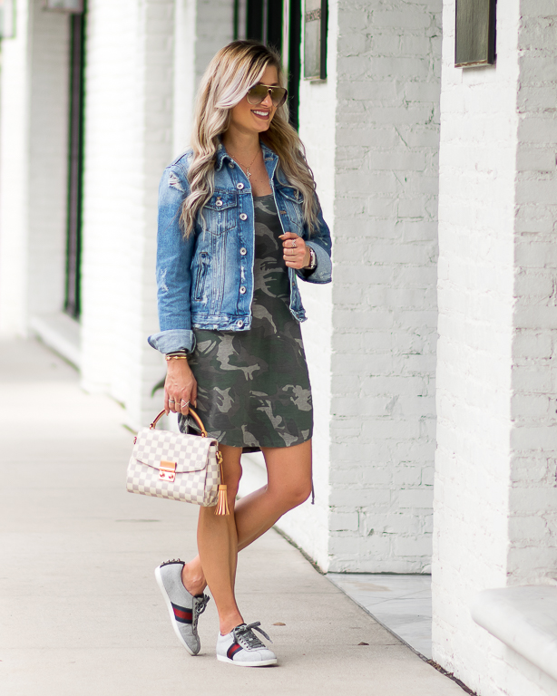 Casual Camo Dress, Sneakers \u0026 Denim Jacket
