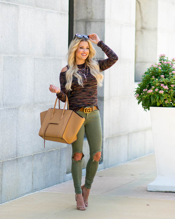 olive green ripped denim free people