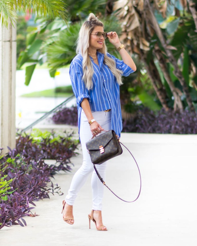 blue and white striped oversized shirt white denim