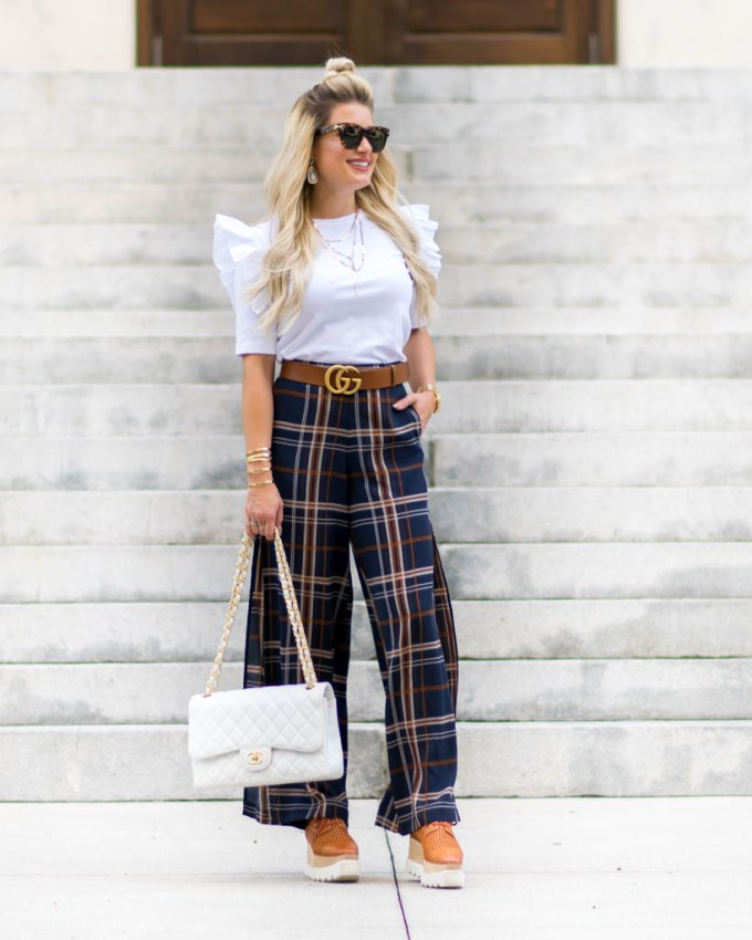 plaid pants with side slit