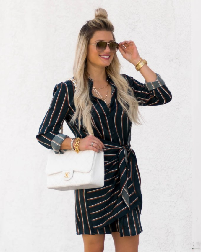joa striped dress faux wrap