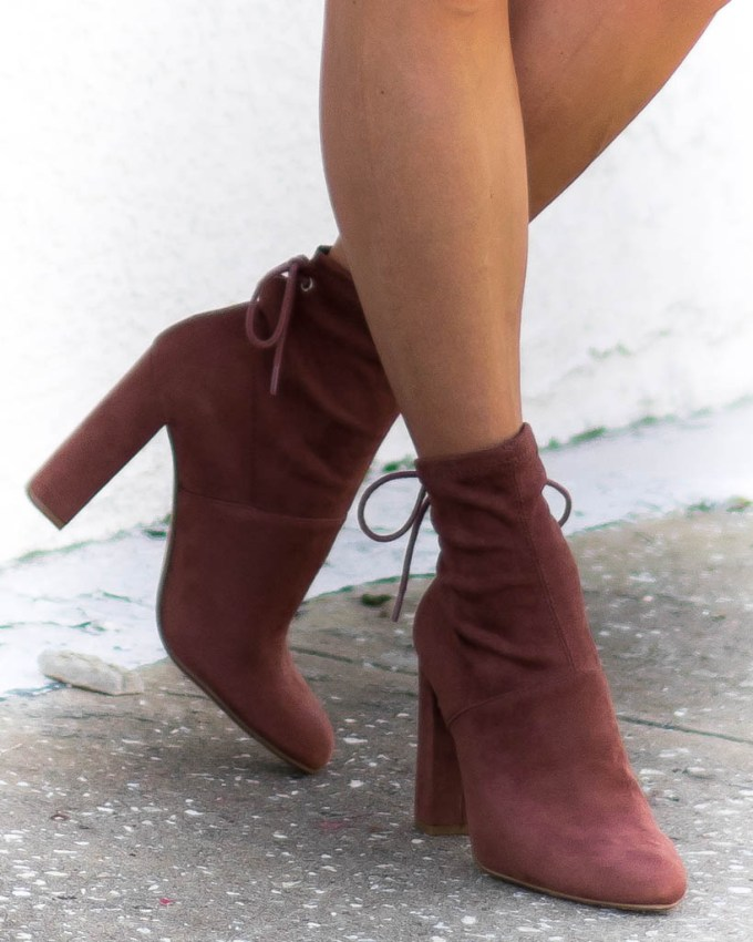 brown suede booties high heel