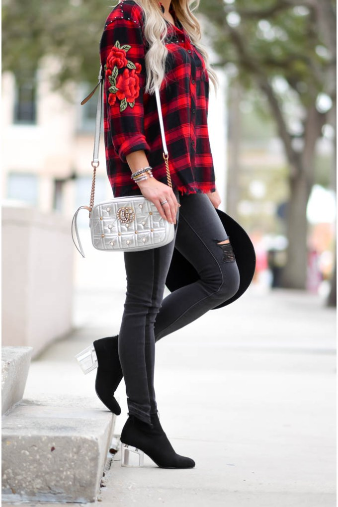 street style red plaid embroidered shirt