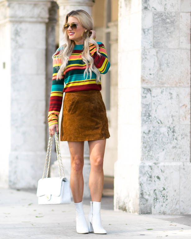 striped sweater suede skirt