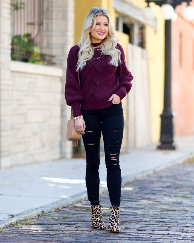 nordstrom burgundy cable knit sweater
