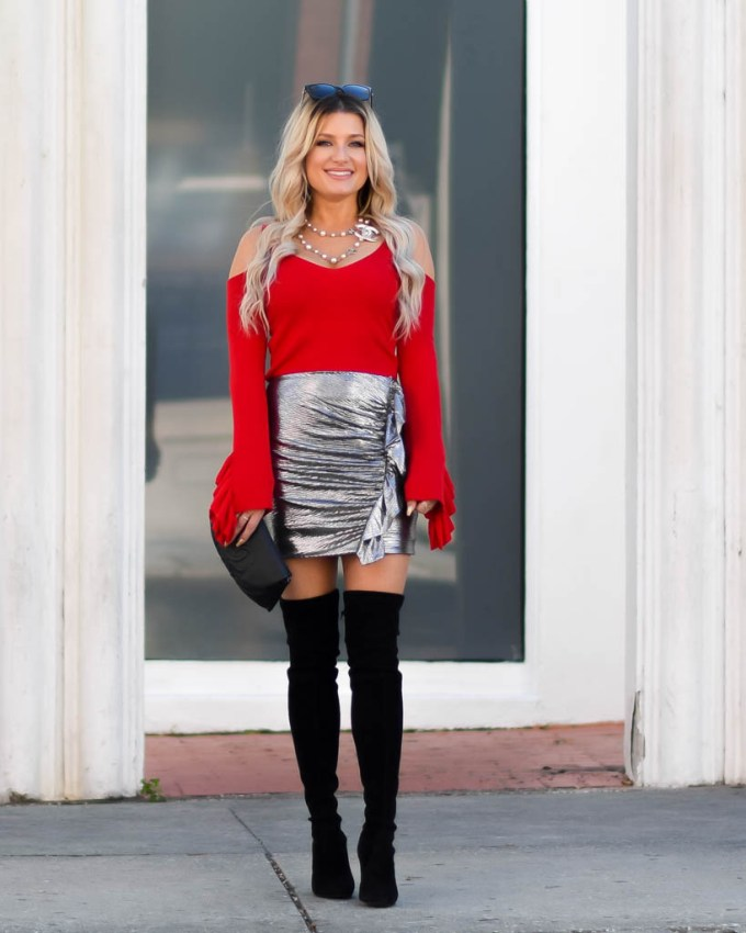 red cold shoulder sweater black over the knee boots