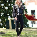 ripped denim holiday party outfit