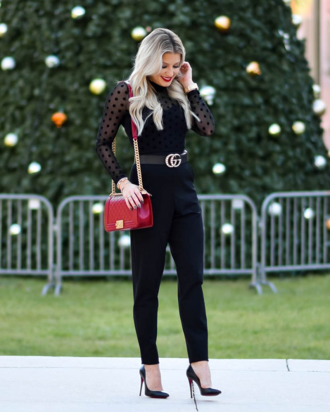 louboutin black pump pigalle holiday look