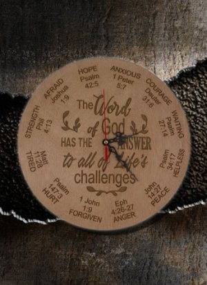 Clock Wooden Engraved