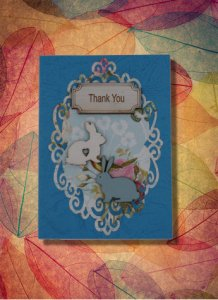 Thank You Card Rabbits Laser Engraved blue