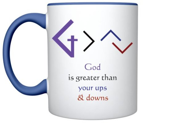 Christian Books and Gifts | 11oz Ceramic Coffee Mug - God is Greater than Your Ups and Downs