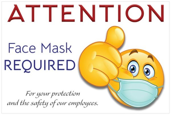 Christian Books and Gifts | Laminated Business Sign | COVID-19 ~ Coronavirus | Face Mask Required