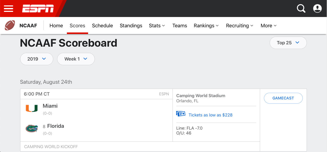ESPN's College Football Scoreboard