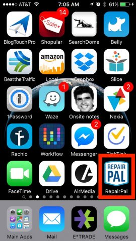 RepairPal on the Home Screen
