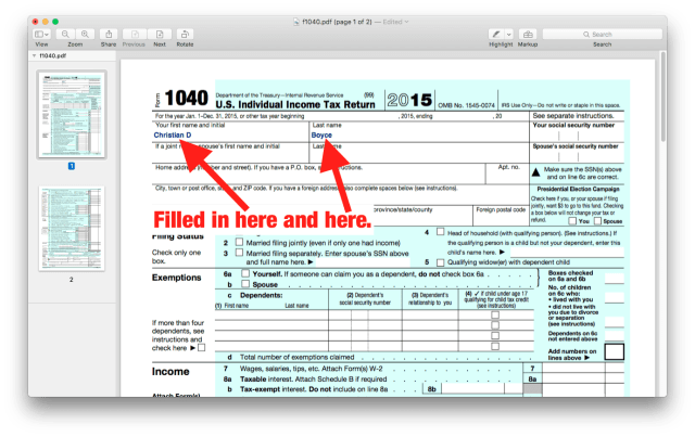 Filled-in 1040 form, opened in Preview