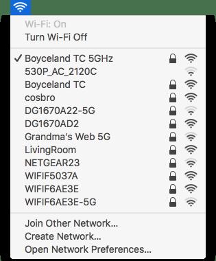 Regular WiFi menu
