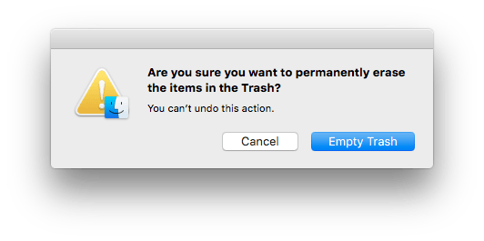 Are you sure you want to empty the trash? dialog box