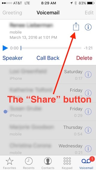 """iPhone """"share"""" button on the voicemail screen"""
