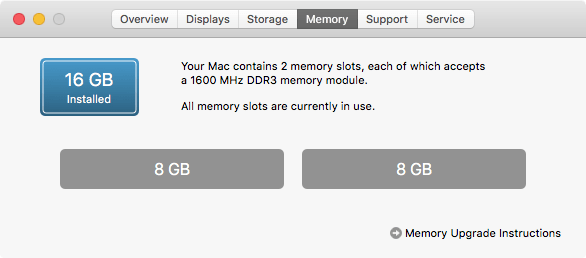 Installed RAM as seen in About This Mac under the Apple menu
