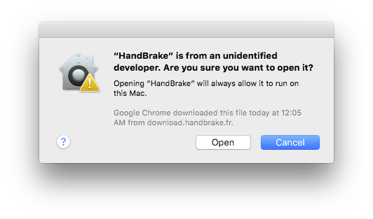 Dialog box asking whether you want to open an unidentified app