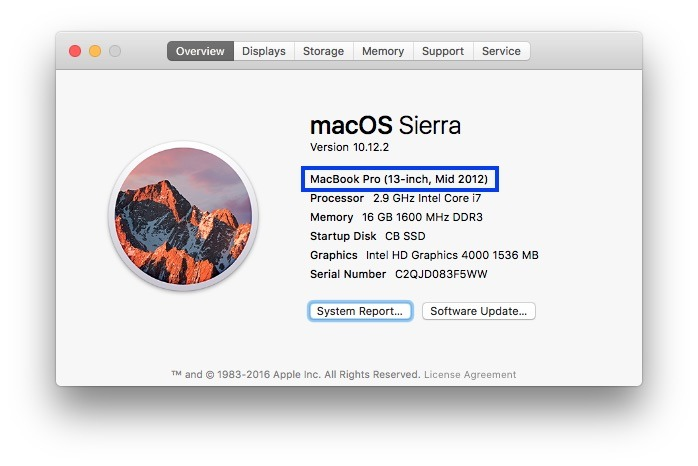 About This Mac for MacBook Pro (13-inch, Mid 2012)
