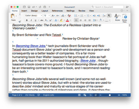 Microsoft Word 2016 with Invisibles Showing