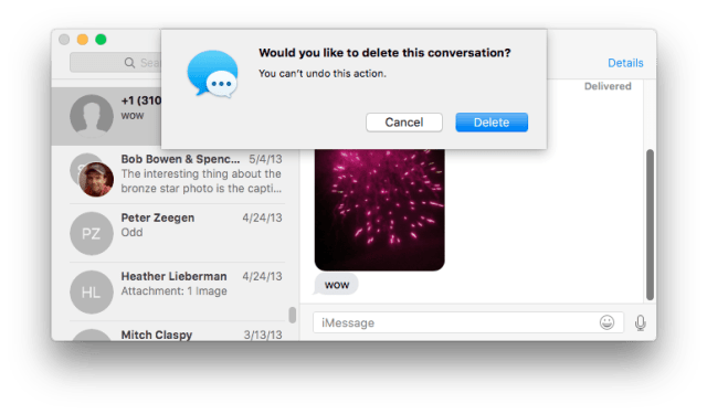 Mac Messages app: Are you sure you want to delete this conversation?