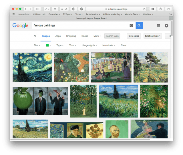 "Google search results for ""famous paintings"" filtered to green"