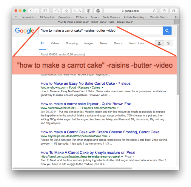 Google search results: no raisins, no butter, no video.