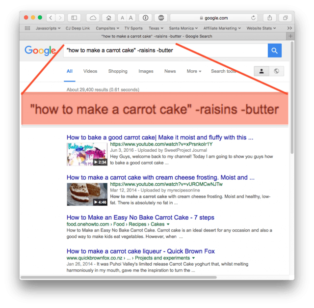 Google search improved by putting search string in quotes