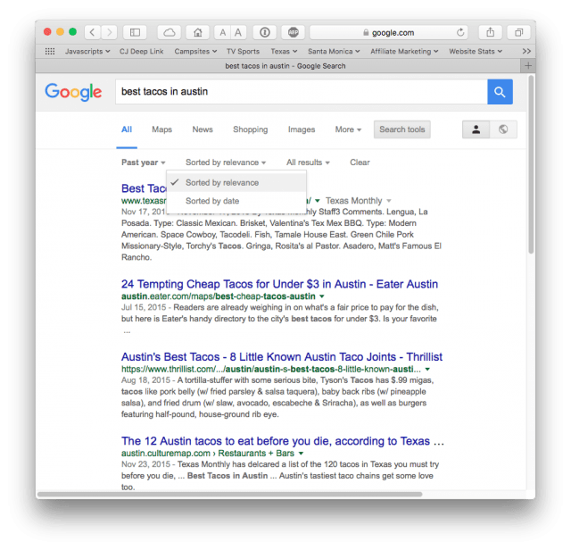 Sorting Google search results by relevance or by date