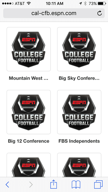 ESPN's college football calendar page as seen on an iPhone