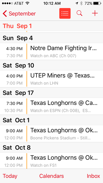 2016 Texas Longhorns college football schedule on iPhone