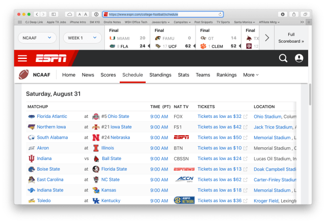 ESPN's college football schedule page