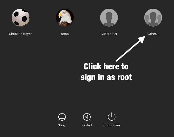 """Mac login screen with """"Other..."""""""