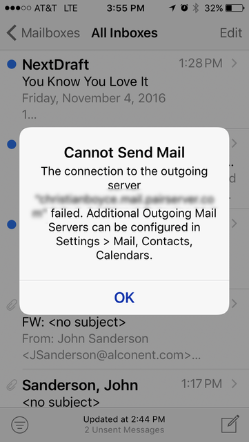 iOS 10 Cannot Send Mail message (because iPhone is not on WiFi)
