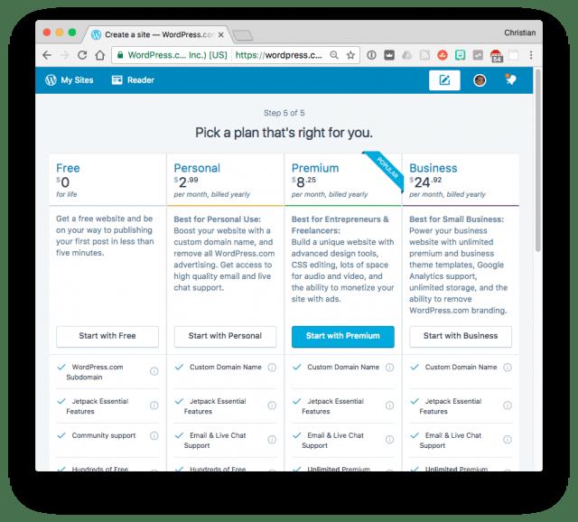 WordPress.com pick a plan