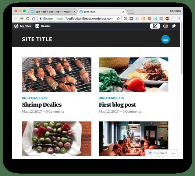 WordPress site with uncategorized blog posts