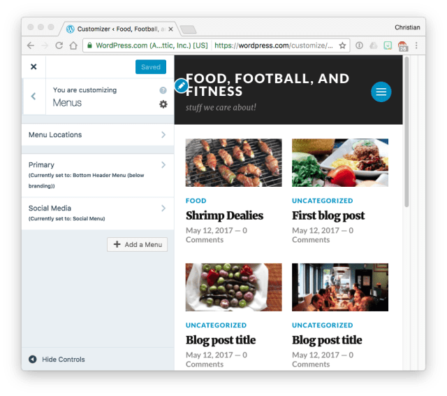 WordPress.com Customizer menus