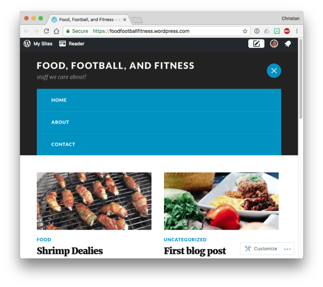 WordPress.com theme menu after clicking