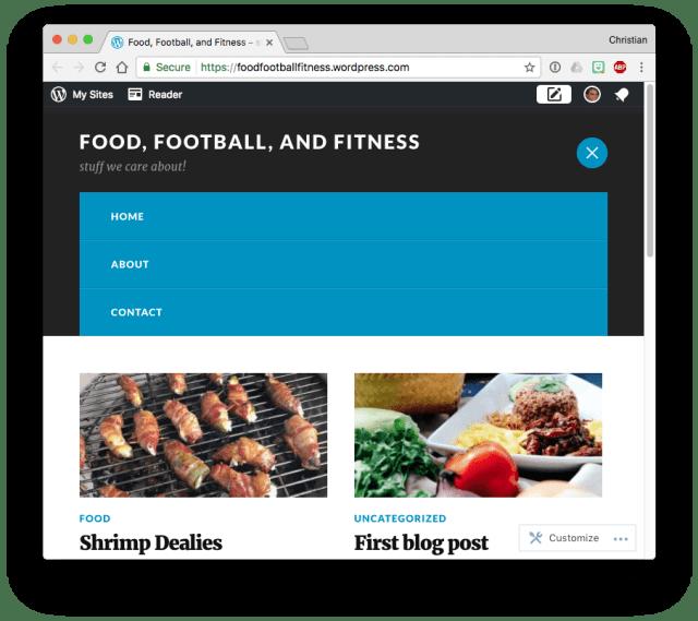 WordPress.com theme menu after clicking