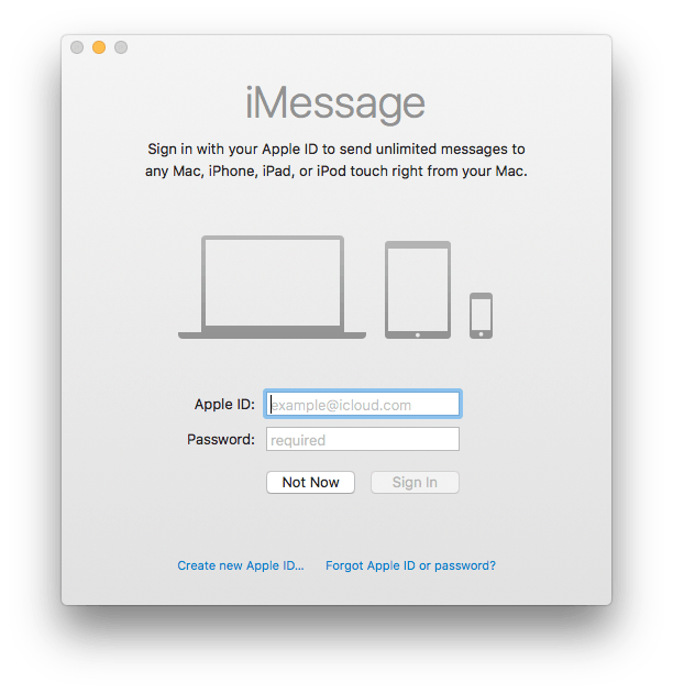 Messages on the Mac initial settings