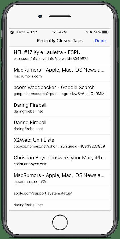 iOS Safari Recently Closed Tabs