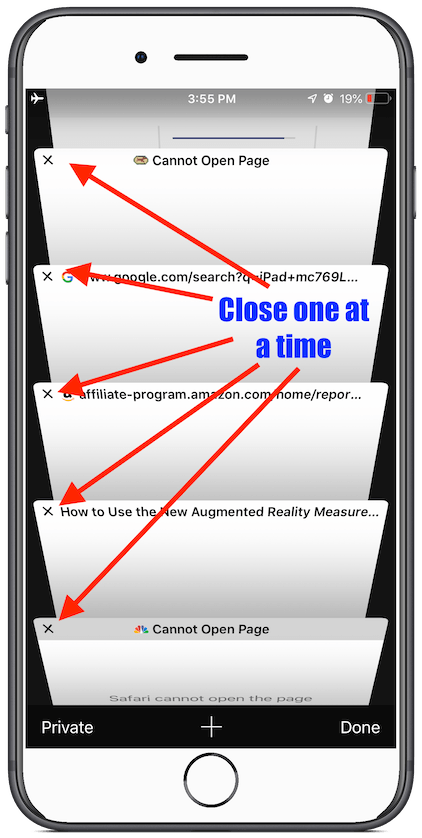 iOS Safari Tabs, closing one at a time