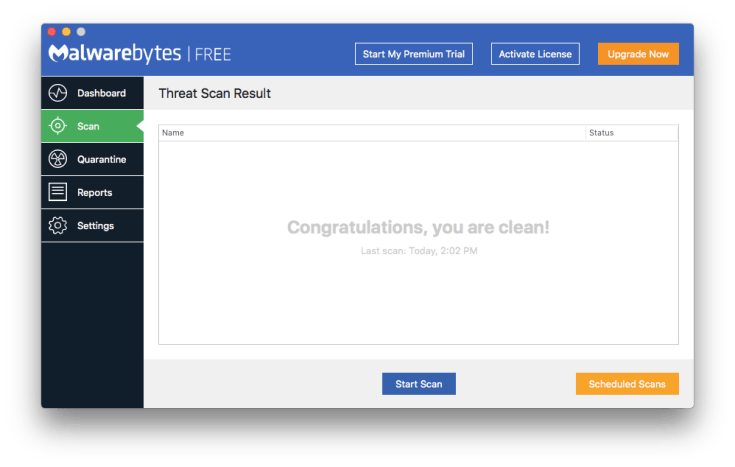 Malwarebytes for Mac: this Mac is clean!