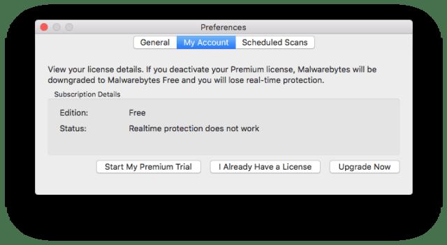 Malwarebytes: free version