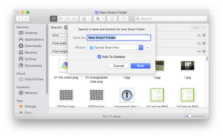 Smart Folders: save it and name it