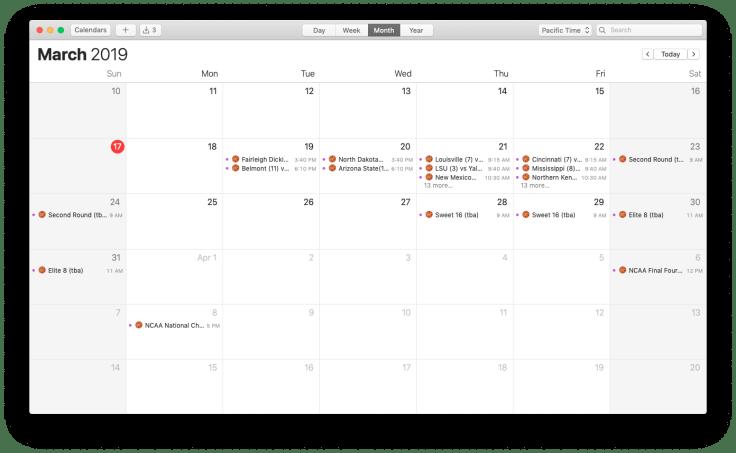 Calendar app with March Madness calendar.